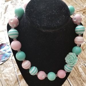 New Bubble Gum Bead Necklace Green Pink